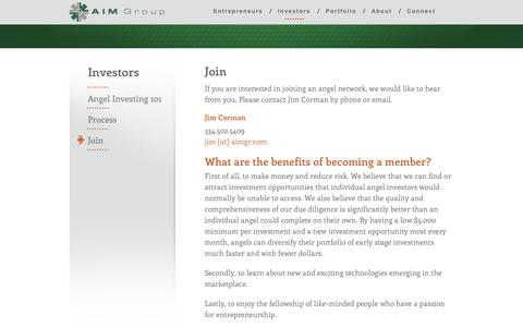 Screenshot of Signup Page aimgr.com - Join an Angel Network | AIM Group - captured Oct. 4, 2014