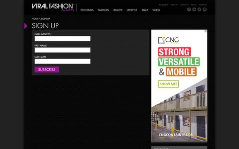 Screenshot of Signup Page viralfashion.com - Viral Fashion | Sign Up - Viral Fashion - captured Oct. 29, 2014