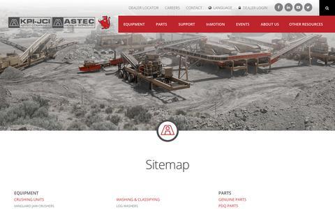 Screenshot of Site Map Page kpijci.com - Sitemap   KPI-JCI and Astec Mobile Screens - captured Oct. 16, 2017