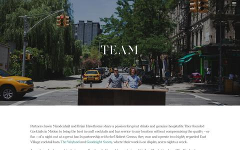 Screenshot of Team Page cocktailsinmotion.com - Team — - captured May 19, 2017