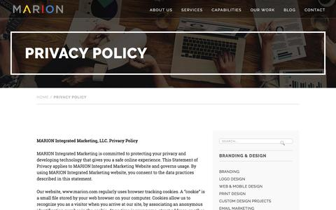 Privacy Policy - MARION Integrated Marketing