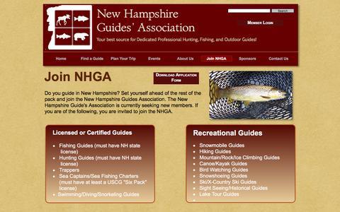 Screenshot of Signup Page nhguidesassociation.com - NH Guides Association - Join NHGA - captured June 22, 2016
