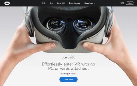 Screenshot of Home Page oculus.com - Oculus - captured Oct. 12, 2017