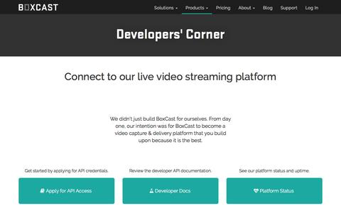 Screenshot of Developers Page boxcast.com - BoxCast API Developer Documentation - captured May 9, 2017