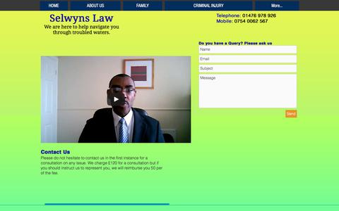 Screenshot of Contact Page selwynslaw.com - selwynslaw | CONTACT US - captured June 18, 2017