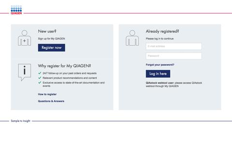 Screenshot of Login Page qiagen.com - QIAGEN - Sample to Insight - captured July 11, 2019