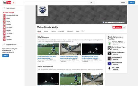 Screenshot of YouTube Page youtube.com - Vision Sports Media  - YouTube - captured Oct. 29, 2014
