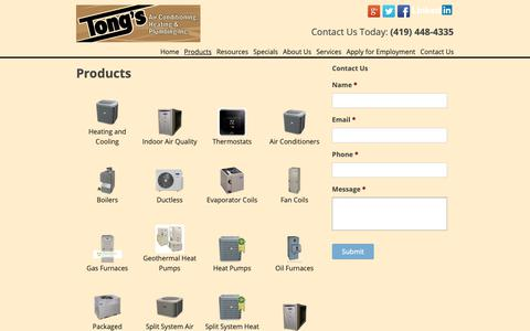 Screenshot of Products Page tongsac.com - Products - Tong's Air Conditioning, Heating & Plumbing - captured Oct. 19, 2018