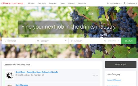 Screenshot of Jobs Page thedrinksbusiness.com - Beer, Spirits and Wine Jobs - The Drinks Business - captured Jan. 13, 2020