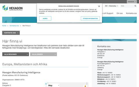 Screenshot of Locations Page hexagonmi.com - Här finns vi | Hexagon Manufacturing Intelligence - captured Oct. 21, 2018