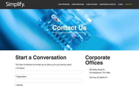 Screenshot of Contact Page simplifycorp.com - Start a Conversation | Simplify. Inc. - captured Feb. 4, 2016