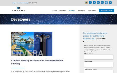Screenshot of Developers Page enverasystems.com - Developers - Envera Systems - captured July 20, 2018