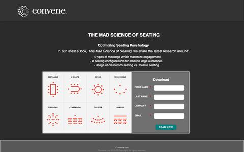 Screenshot of Landing Page convene.com - Mad Science of Seating - captured March 30, 2017