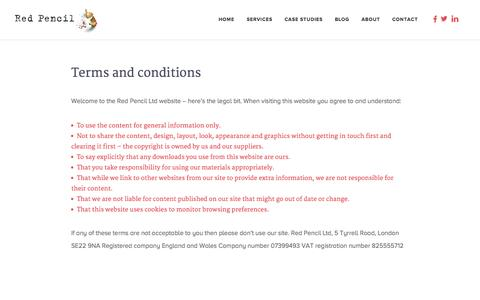 Screenshot of Terms Page redpencil.co.uk - Terms and conditions - Red Pencil - captured Oct. 1, 2014
