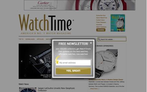 Screenshot of Home Page watchtime.com - Wristwatch reviews, watch news, watch database. › WatchTime - USA's No.1 Watch Magazine - captured Oct. 1, 2015