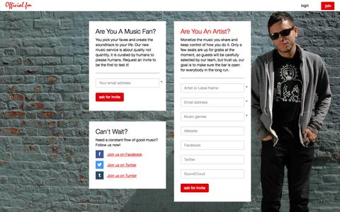 Screenshot of Signup Page official.fm - Official.fm: for your ears and eyes - captured Sept. 17, 2014