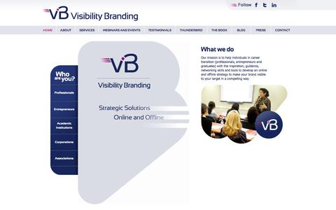 Screenshot of Home Page visibilitybranding.fr - Visibility Branding - captured Oct. 9, 2014