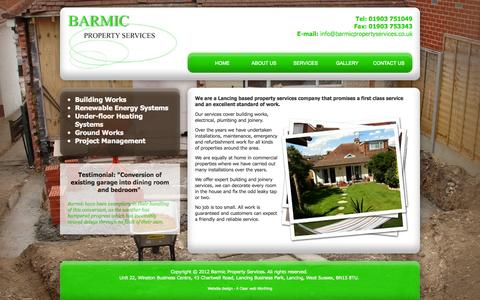 Screenshot of Home Page barmicpropertyservices.co.uk - Lancing based property services company that promises a first class service and an excellent standard of work. Barmic Property Services - captured Jan. 26, 2015