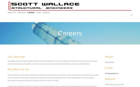 Screenshot of Jobs Page wallacese.com - Careers — Scott Wallace Structural Engineers - captured Nov. 19, 2016