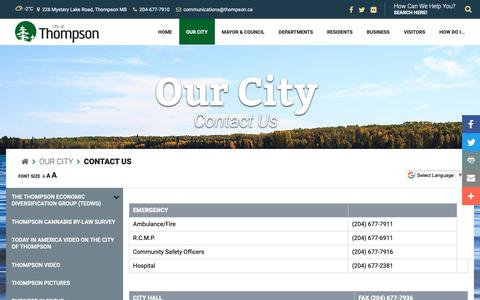 Screenshot of Contact Page thompson.ca - City of Thompson - Contact Us - captured Sept. 28, 2018