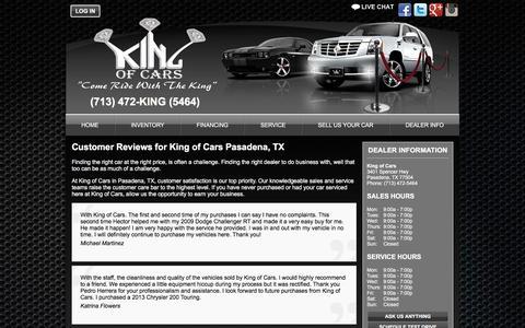 Screenshot of Testimonials Page kingofcarstx.com - Pasadena, TX Used Cars | Buy Here Pay Here | King of Cars - captured Feb. 12, 2016