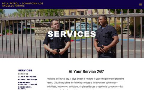 Screenshot of Services Page dtlapatrol.com - services — DTLA Patrol - Downtown Los Angeles Patrol - captured Oct. 5, 2014