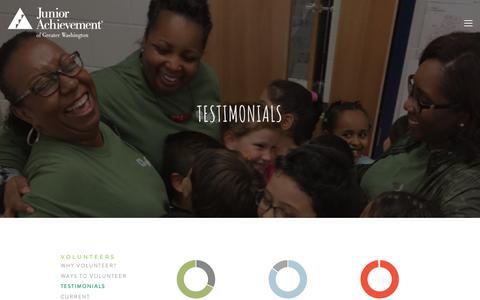 Screenshot of Testimonials Page myja.org - Testimonials — Junior Achievement of Greater Washington - captured Oct. 14, 2018