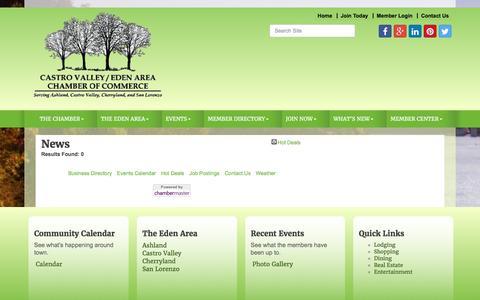 Screenshot of Press Page edenareachamber.com - News - Castro Valley/Eden Area Chamber of Commerce, CA - captured Jan. 26, 2016