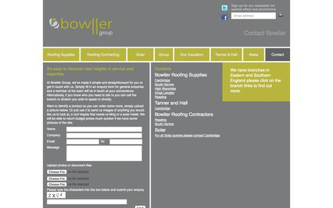 Screenshot of Contact Page bowller.com - Bowller Group - Discovering new heights in roofing expertise - captured Oct. 5, 2014