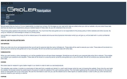 Screenshot of Privacy Page gridler.com - Privacy Policy | Gridler - captured July 17, 2017