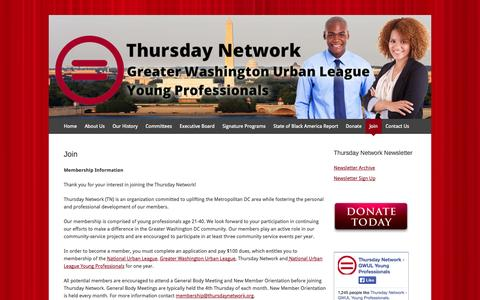 Screenshot of Signup Page thursdaynetwork.org - Join | Thursday Network - Greater Washington Urban League Young Professionals - captured Oct. 3, 2014