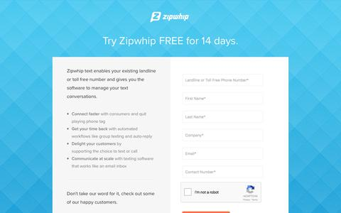 Screenshot of Trial Page zipwhip.com - 14-Day Free Trial | Zipwhip - captured June 23, 2017