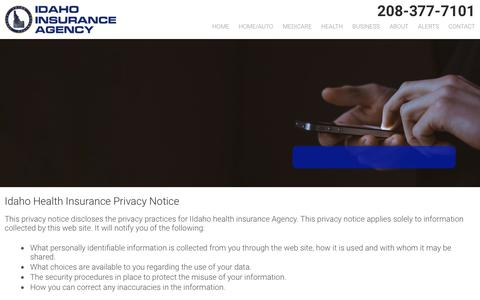 Screenshot of Privacy Page idaho-insuranceagency.com - Privacy  | Idaho Insurance Agency - Idaho Insurance Agency - captured Dec. 19, 2018