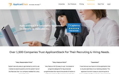 Screenshot of Testimonials Page applicantstack.com - Testimonials - ApplicantStack - captured Oct. 20, 2015
