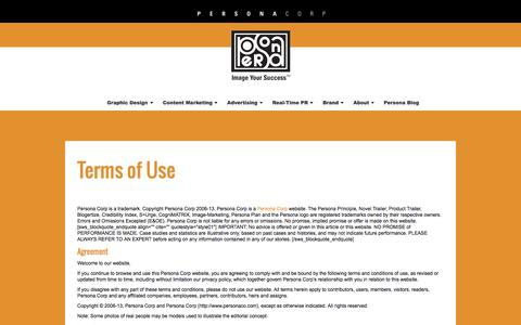 Screenshot of Terms Page personaco.com - Terms of Use - Persona Corp — Image Your Success - captured Oct. 2, 2014