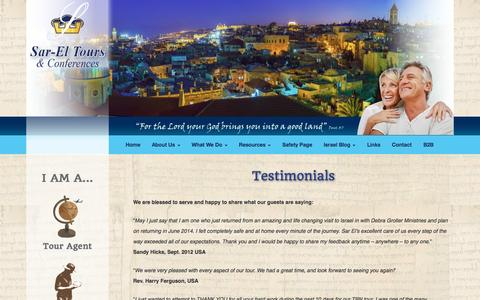 Screenshot of Testimonials Page sareltours.com - Testimonials - Sar-El Tours & Conferences - captured Oct. 4, 2014