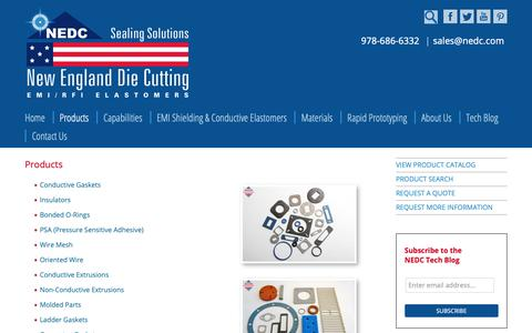 Screenshot of Products Page nedc.com - Products - New England Die Cutting (NEDC) - captured Oct. 3, 2018