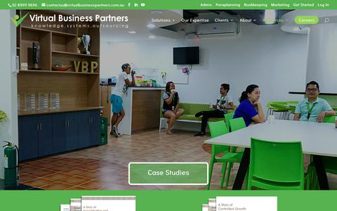 Screenshot of Case Studies Page virtualbusinesspartners.com.au - Case studies   Sucbscribe now at VBP Financial Planning Outsourcing - captured Oct. 20, 2018