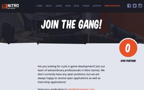 Screenshot of Jobs Page nitrogames.com - Nitro Games - Open positions - captured Dec. 8, 2016
