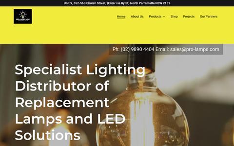 Screenshot of Home Page pro-lamps.com - Pro-Lamps NSW - Led Lighting, Led Lighting, Light Bulbs - captured Sept. 25, 2018