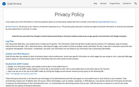 Screenshot of Privacy Page codenirvana.in - Privacy Policy           |            Code Nirvana - captured July 20, 2018