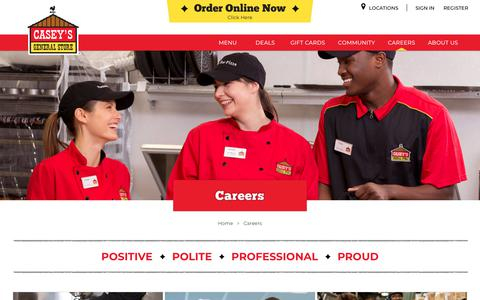 Screenshot of Jobs Page caseys.com - Careers | Casey's General Store - captured Jan. 31, 2018