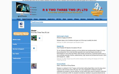 Screenshot of Testimonials Page maccomputers.in - RS232 India, Mac Computers, Mac, Apple Authorised Dealer / Distributor in Delhi, Mac Products in Delhi, Apple Delhi, NCR, India - captured Oct. 7, 2014