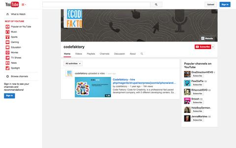 Screenshot of YouTube Page youtube.com - codefaktory  - YouTube - captured Oct. 22, 2014