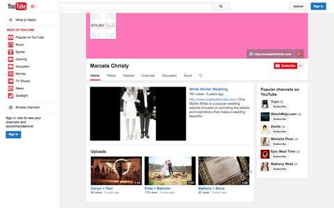Screenshot of YouTube Page youtube.com - Marcela Christy  - YouTube - captured Oct. 26, 2014