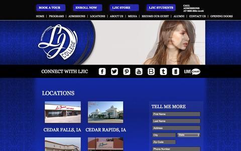 Screenshot of Locations Page ljic.edu - LJIC Locations // La' James International College // Cosmetology - Massage - Esthetics - Nail Technology // Iowa - Illinois - Nebraska - captured Nov. 1, 2014