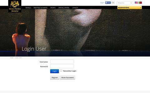 Screenshot of Login Page dompedro.com - Login User - captured Oct. 6, 2014