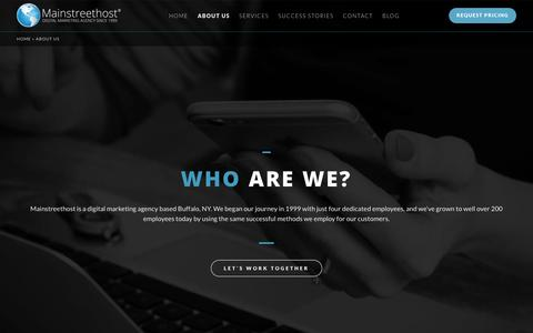 Screenshot of About Page mainstreethost.com - Buffalo, NY Based SEO & Digital Marketing Agency | About Us - captured Oct. 1, 2017