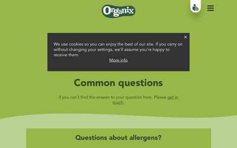 Screenshot of FAQ Page organix.com - Common questions | Organix - captured June 25, 2017