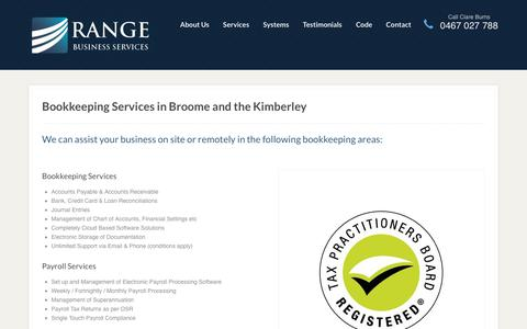 Screenshot of Services Page rangeservices.com.au - Bookkeeping Broome, Kimberley - Range Business Services - captured Oct. 18, 2018